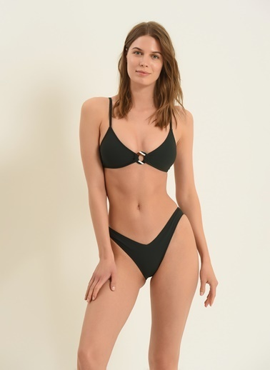 Morhipo Beach Kadın Tokalı Üçgen Bikini MBKSS21BK0041 Yeşil